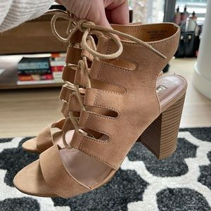 Primark Faux Tan Leather Heels - Size 8